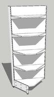 Стеллаж металлический с полками угловой 750х750/580х2000 (2х400, 2х300)
